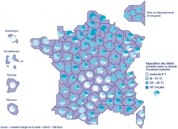 Eau dure - Carte de France